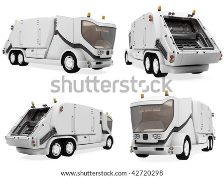 Isolated collection of concept trash truck