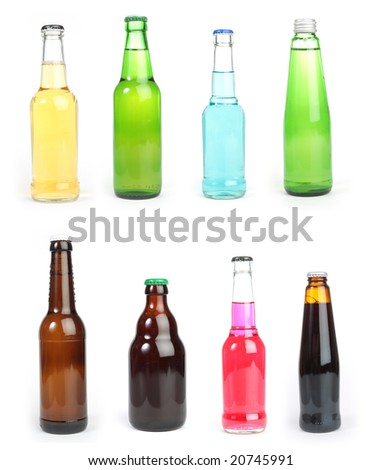 Isolated collection of mixed alcohol bottles
