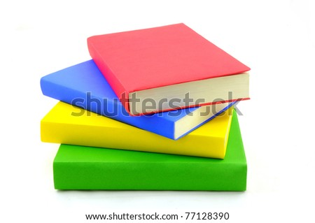 Isolated colorful book stacking on white background - stock photo