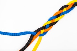 isolated colorful plastic braid rope on white background