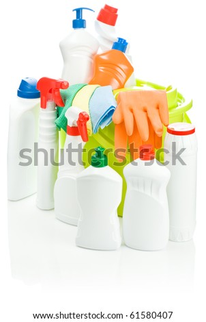 isolated composition of cleaning supplies