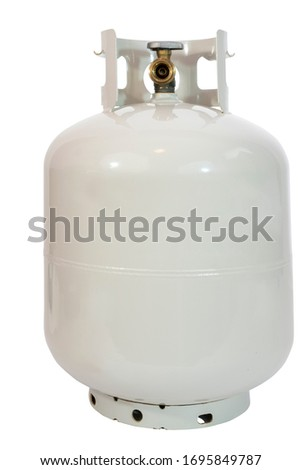 Isolated compressed lpg propane in grayish white canister. Stock foto ©