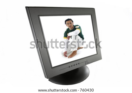Isolated computer tft screen over white background