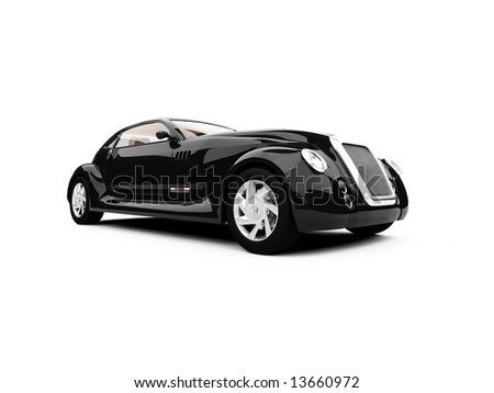 isolated concept of retro car against white