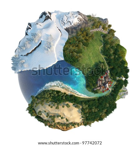 Isolated conceptual globe with diversity in natural landscapes and environments - stock photo