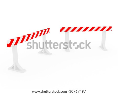 isolated construction and caution sign - 3d illustration