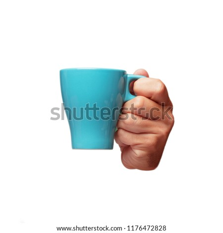 isolated cutout male hand holding a coffee cup #1176472828