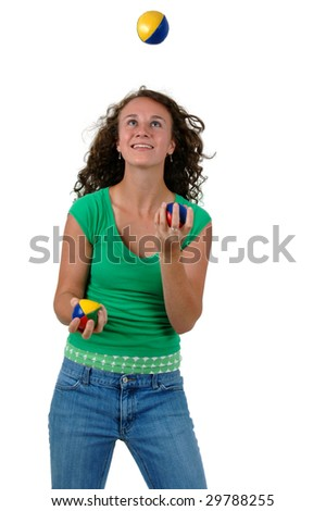 Isolated cutout teenage girl performing juggling throwing balls.