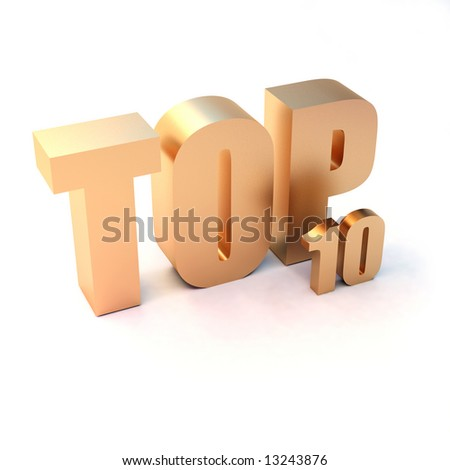 "isolated 3d golden text ""TOP 10"" - stock photo"