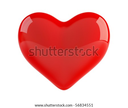 Isolated 3d heart on white