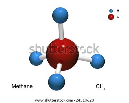 Isolated 3D model of a molecule of methane on a white background