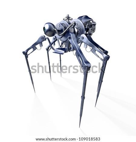 Isolated 3d render of steam punk spider / Robot - spider - spy