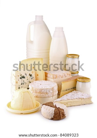 isolated dairy products on white background