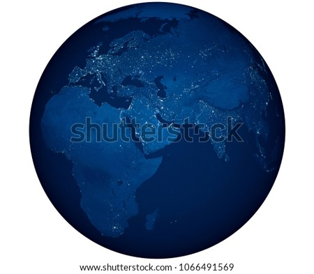 Isolated dark side of the World or earth in 3D illustration. You can see Asia, Africa and Australia. This 3D illustration or rendering made with After Effects. stock photo