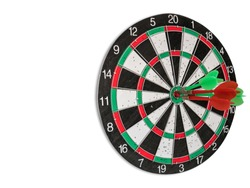 Isolated Dart Board with White Background. Holes on Dart Board Due to Throwing Darts Multiple Times. Four Darts Hit the Red Bullseye