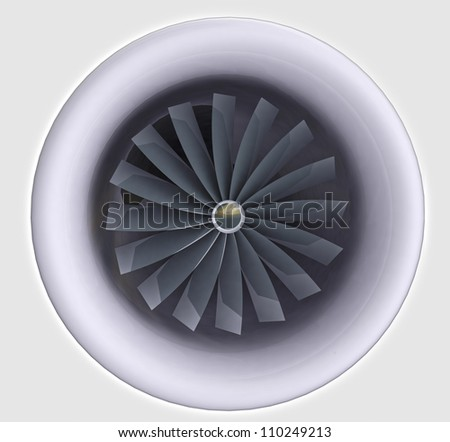 isolated detailed view on jet engine which is used for airplane technology