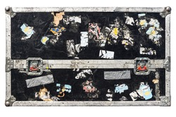 isolated dirty grunge road flight case with metal latches (for transporting music and lightning equipment) white background