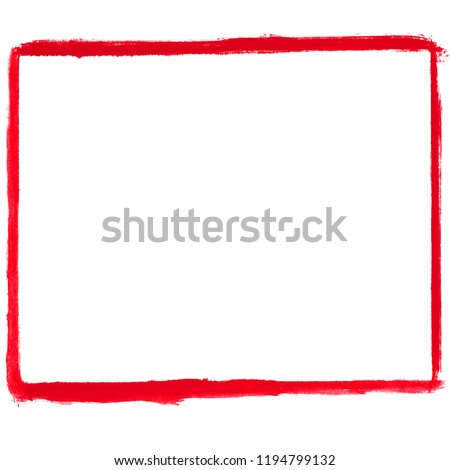 Isolated dirty red grunge frame painted with brush