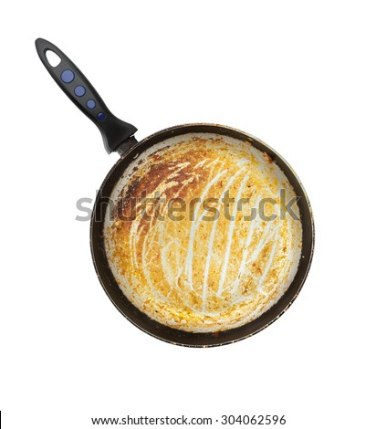 isolated dirty rusted old pan after cooking need wash - white background