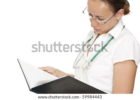 isolated doctor women reading her planer notebook