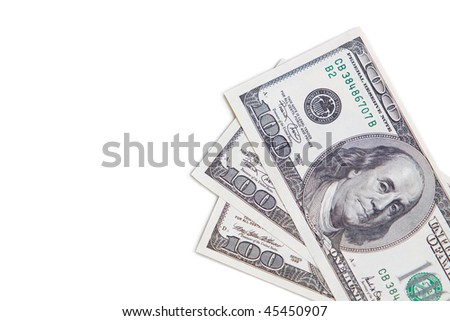 Isolated dollars currency in down right angle