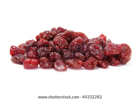 isolated dried cherries on a white background