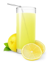 Isolated drink. Glass of fresh lemonade and pieces of cut lemon fruit isolated on white background
