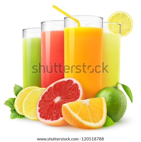 Shutterstock Isolated drinks. Glasses of fresh citrus juices (orange, grapefruit, lemon, lime) and cut fruits isolated on white background