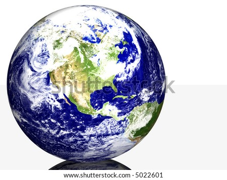 Isolated Earth on Reflective Surface USA