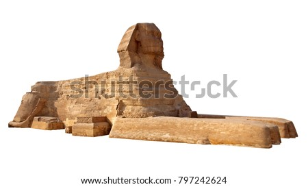 Isolated Egypt Sphinx on a white background. #797242624