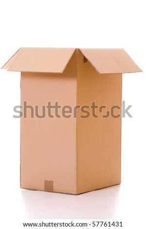Isolated empty and opened cardboard box with reflection.