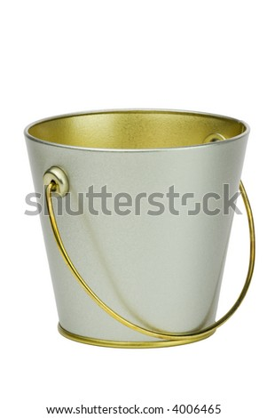 Isolated empty bucket over white