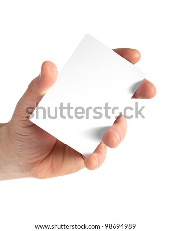 isolated empty business card in a man's hand. Just add your text