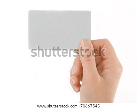 isolated empty business card in a woman's hand. Just add your text