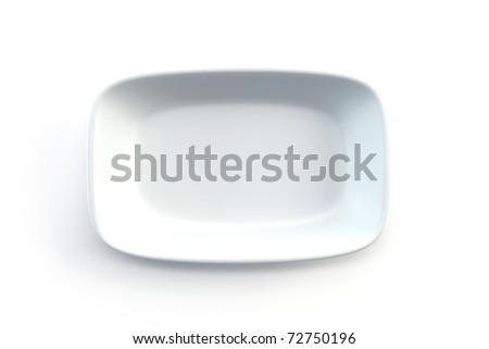 isolated empty ceramic plate, 3d render