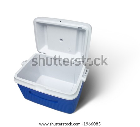 Isolated empty cooler with clipping path