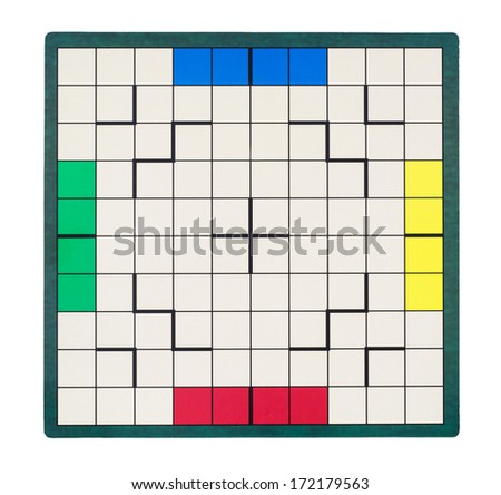 Isolated empty game board. View from above.