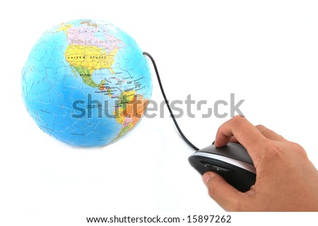 Isolated ergonomic mouse and a globe shot over white background - stock photo