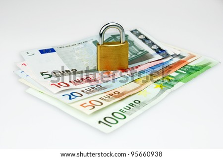 isolated euro currency money with lock