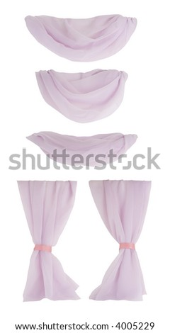 Isolated fabric curtain components - can easily be assembled into a variety of curtains/drapes.