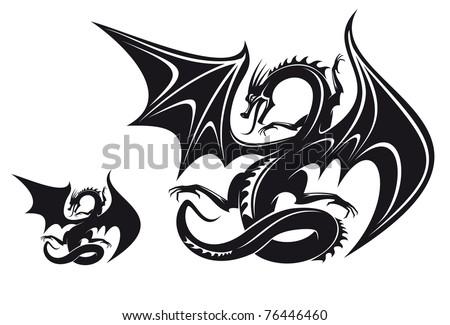 isolated fantasy black dragon