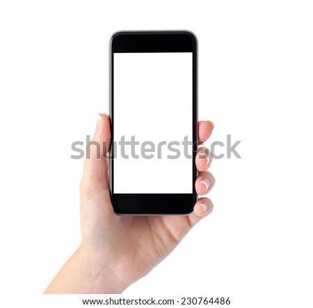 Shutterstock Isolated female hand holding a phone with white screen
