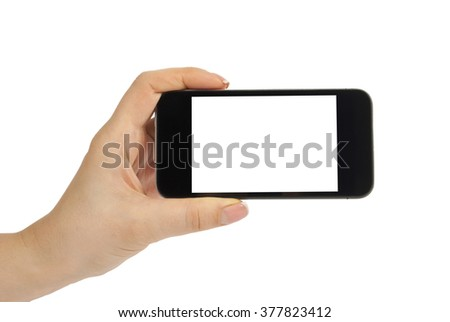 Isolated female hand holding a phone with white screen #377823412