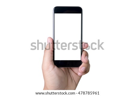 Isolated female hand holding a phone with white screen top view #478785961
