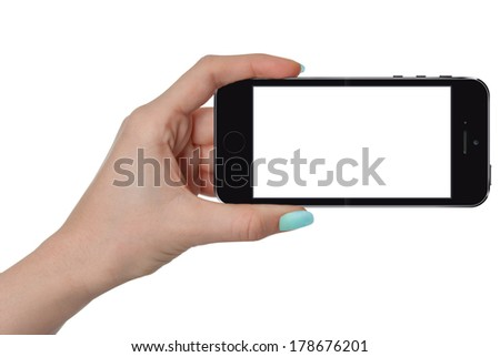 isolated female hand holding smart phone similar to iphon with isolated screen #178676201