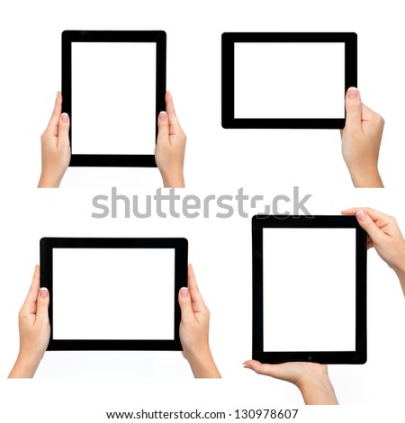 Isolated female hand holding tablet computer in different ways