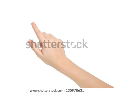 isolated female hand touching or pointing to something #130978631