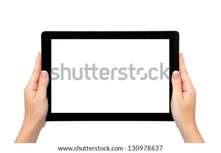 isolated female hands hold longer banner computer tablet or frame