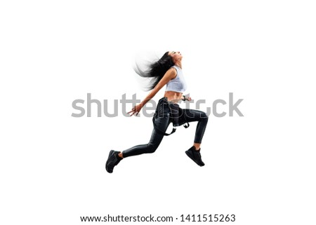 Isolated Female Hip Hop Dancer. Beautiful girl dancing on white background #1411515263