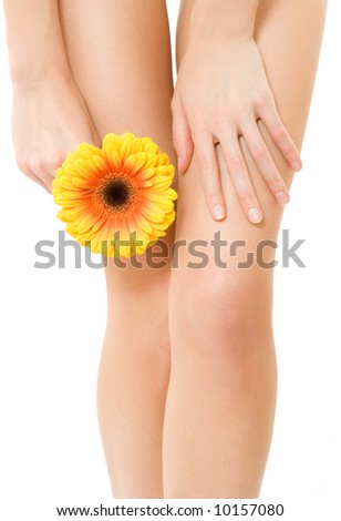 Isolated Female legs on white background